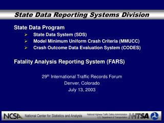 State Data Reporting Systems Division