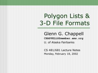 Polygon Lists & 3-D File Formats
