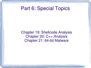 Part 6: Special Topics