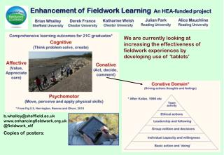 Enhancement of Fieldwork Learning   An HEA-funded project