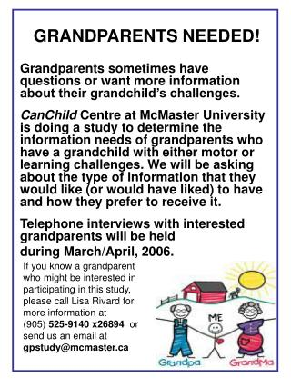 GRANDPARENTS NEEDED!