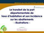 Le transfert de la part d partementale de  taxe d habitation et son incidence sur les abattements - Illustrations -
