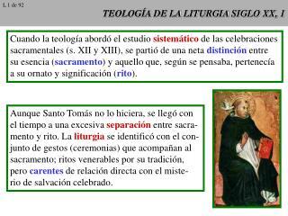 TEOLOGÍA DE LA LITURGIA SIGLO XX, 1