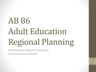 AB 86 Adult Education Regional Planning