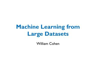 Machine Learning from Large Datasets