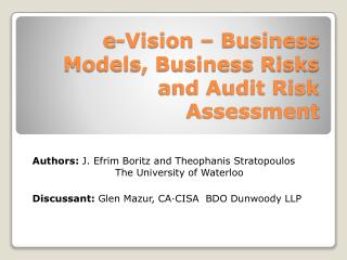 e-Vision – Business Models, Business Risks and Audit Risk Assessment