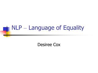 NLP  –  Language of Equality