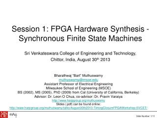 Session 1: FPGA Hardware Synthesis - Synchronous Finite State Machines
