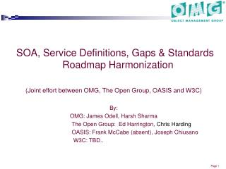 SOA, Service Definitions, Gaps & Standards Roadmap Harmonization