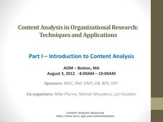 Content Analysis in Organizational Research: Techniques and Applications
