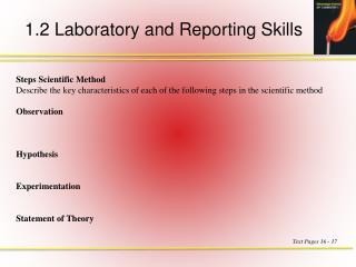 1.2 Laboratory and Reporting Skills