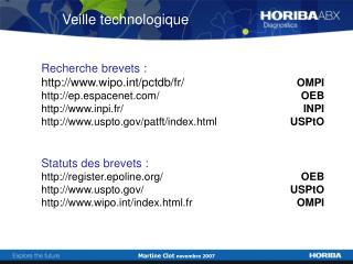 Recherche brevets : wipot/pctdb/fr/  OMPI ep.espacenet/ OEB