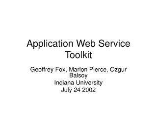 Application Web Service Toolkit