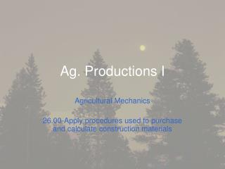 Ag. Productions I