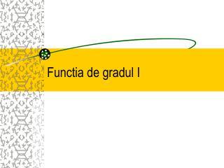 Functia de gradul I