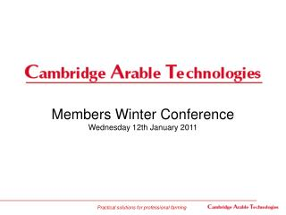 Members Winter Conference Wednesday 12th January 2011