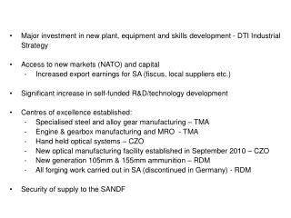Major investment in new plant, equipment and skills development - DTI Industrial Strategy