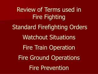 Fire Terms -- 1
