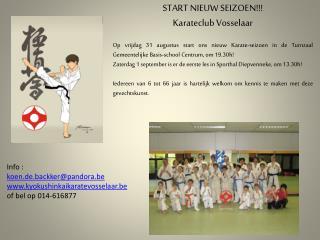 START NIEUW SEIZOEN!!! Karateclub  Vosselaar