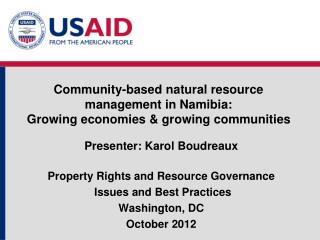 Community-based natural resource management in Namibia:  Growing economies & growing communities