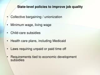 State-level policies to improve job quality