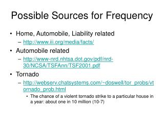 Possible Sources for Frequency