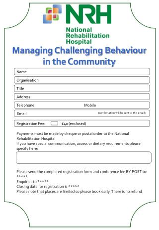 Managing Challenging Behaviour in the Community