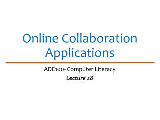Online Collaboration Applications