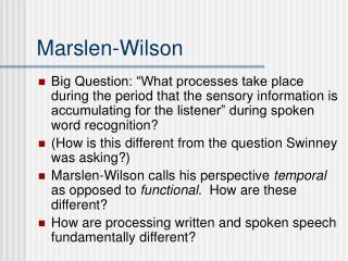 Marslen-Wilson