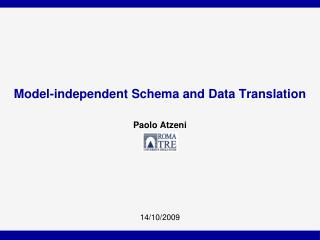 Model-independent Schema and Data Translation