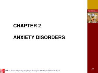CHAPTER 2 ANXIETY DISORDERS
