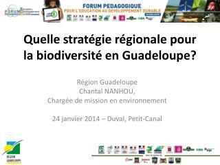 Quelle stratégie régionale pour la biodiversité en Guadeloupe?