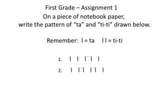 First Grade – Assignment 1