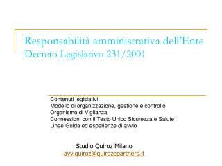 Responsabilità amministrativa dell'Ente Decreto Legislativo 231/2001