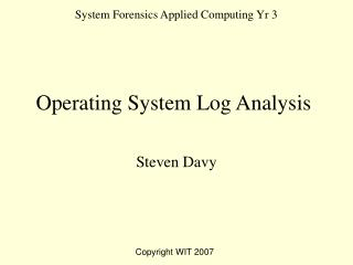 System Forensics Applied Computing Yr 3