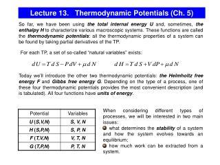 Lecture 13.   Thermodynamic Potentials (Ch. 5)