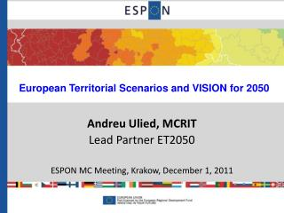 European Territorial Scenarios and VISION for 2050