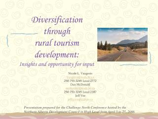 Diversification  through  rural tourism development:  Insights and opportunity for input