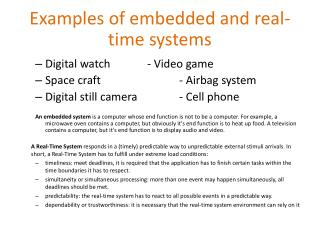 Examples of embedded and real-time systems