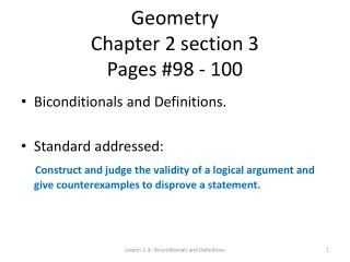 Geometry Chapter 2 section 3  Pages #98 - 100