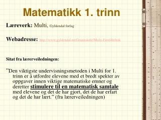 Matematikk 1. trinn