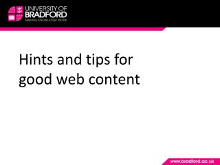 Hints and tips for good web content