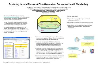 Exploring Lexical Forms: A First-Generation Consumer Health Vocabulary
