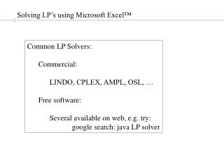 Solving LP's using Microsoft Excel™