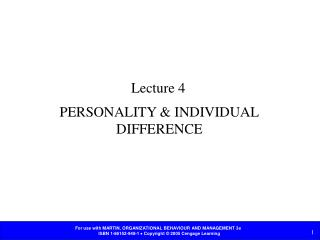 PERSONALITY & INDIVIDUAL DIFFERENCE
