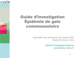 Assembl e des professionnels r seau EMS Mardi 02 f vrier 2010  Resclin-Champagne-Ardenne resclinchu-reims.fr