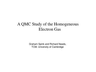 A QMC Study of the Homogeneous Electron Gas