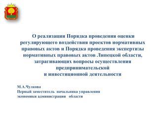 М.А.Чулкова Первый заместитель  начальника управления экономики администрации   области