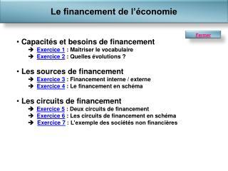 Capacités et besoins de financement Exercice 1  : Maîtriser le vocabulaire