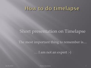 How to do timelapse